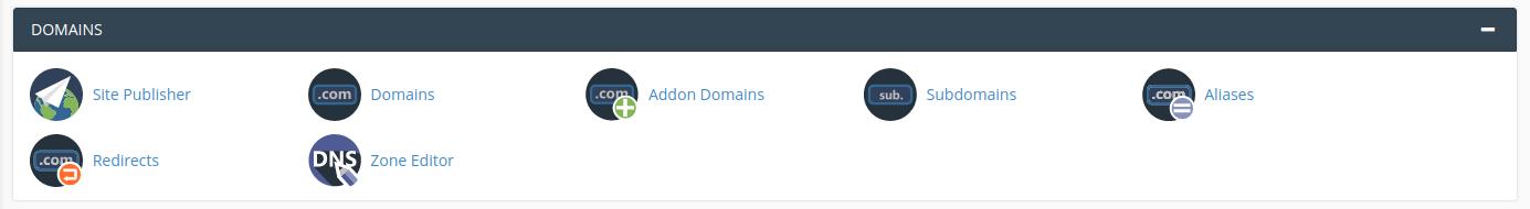 Sectiunea Domains din CPanel